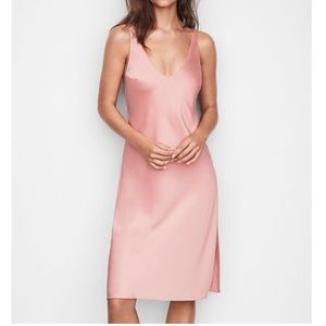 Victoria's Secret pink satin midi slip dress
